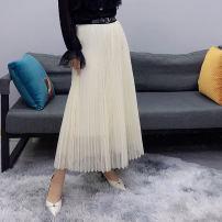 skirt Spring 2021 M, L Black, beige Mid length dress commute High waist A-line skirt letter Type A 25-29 years old Button, print, asymmetric