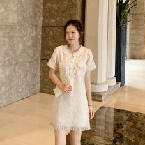 Dress Summer 2021 Off white S,M,L,XL Mid length dress singleton  Short sleeve commute High waist Solid color Socket A-line skirt routine Type H Sandro asw Button 91% (inclusive) - 95% (inclusive)