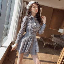 Dress Summer 2021 stripe S,M,L,XL Short skirt Fake two pieces Long sleeves commute tailored collar middle-waisted stripe Single breasted Irregular skirt shirt sleeve Type A Sandro asw lady 91% (inclusive) - 95% (inclusive)