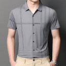 shirt Business gentleman Others M,L,XL,2XL,3XL,4XL Thin money Pointed collar (regular) Short sleeve Self cultivation daily Four seasons youth Business Casual 2021 stripe silk No iron treatment silk Button decoration Easy to wear