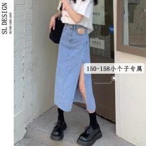 skirt Summer 2021 XS S M Blue black Mid length dress commute High waist Denim skirt Type A 18-24 years old More than 95% Shuli other Korean version Other 100% Pure e-commerce (online only)