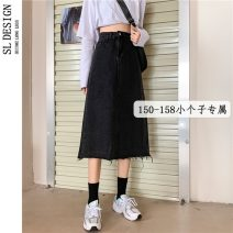 skirt Summer 2021 S M L XS black Middle-skirt Versatile High waist A-line skirt Solid color Type A 18-24 years old More than 95% Denim Shuli other Other 100% Pure e-commerce (online only)