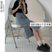 skirt Summer 2021 S L M XS blue Mid length dress commute High waist Denim skirt Solid color Type A 18-24 years old More than 95% Denim Shuli other Korean version Other 100% Pure e-commerce (online only)