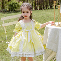 Dress yellow female Ziivaxxy / shoot 80cm 90cm 100cm 110cm 120cm 130cm Cotton 100% summer princess Short sleeve Solid color cotton A-line skirt ZY8066 Class A Summer 2021 12 months, 6 months, 9 months, 18 months, 2 years, 3 years, 4 years, 5 years, 6 years Chinese Mainland