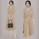 Dress Winter 2020 Apricot S M L XL Mid length dress singleton  Long sleeves commute tailored collar High waist zipper Pleated skirt routine Others 25-29 years old Foam sleep Ol style Asymmetric lacing MH25778-11 More than 95% polyester fiber Polyester 95% polyurethane elastic fiber (spandex) 5%