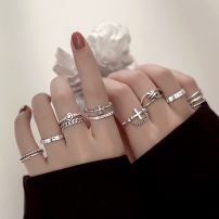 Ring / ring Silver ornaments 30-39.99 yuan Other / other Diamond ring, retro + ring, astronomical ring, black bead ring, three-layer ring, smile chain ring, two-layer ring, cross ring, star moon ring, lucky ring, cross chain ring brand new goods in stock Japan and South Korea female Not inlaid other