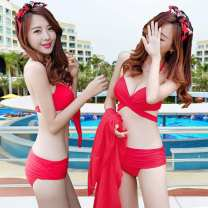Bikini Other / other Black three piece set, red three piece set S (small chest Collection), m (upper and lower sizes can be purchased separately), l (free headdress @ mobile phone bag), XL (big chest essential) Triangle Bikini Steel strap breast pad