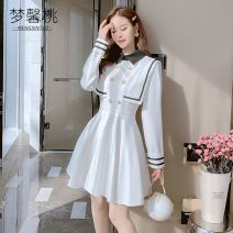 Dress Winter 2020 White-k20, black-3i6 S,M,L,XL Short skirt singleton  Long sleeves commute Polo collar High waist Solid color double-breasted A-line skirt routine Others 18-24 years old Type A Other Korean version Button, zipper MXT15916 More than 95% other