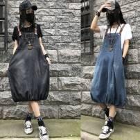Dress Summer 2020 Blue, black and gray M 90-115kg, l 115-130kg, XL 130-145kg, 2XL 145-160kg longuette singleton  Sleeveless commute Lantern skirt other Others Make old Denim other