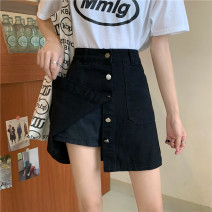skirt Summer 2021 Ml XL 2XL 3XL 4XL 5XL s (suitable for 85-100kg) Black and white Short skirt High waist A-line skirt Type A 18-24 years old More than 95% Denim govk other Other 100%