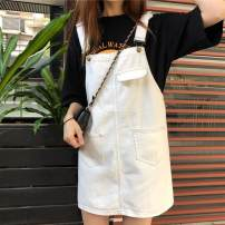 Dress Winter 2016 Black, beige Short skirt singleton  Sleeveless commute straps Other / other Solid color Denim cotton