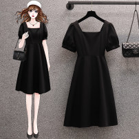 Women's large Summer 2021 black M [recommended 80-100 kg] l [recommended 100-120 kg] XL [recommended 120-140 kg] XXL [recommended 140-160 kg] 3XL [recommended 160-180 kg] 4XL [recommended 180-200 kg] Dress singleton  commute Self cultivation moderate Socket Short sleeve Solid color others square neck