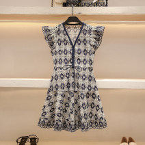 Dress Summer 2021 Blue white S M L Short skirt singleton  Short sleeve commute V-neck High waist Broken flowers Socket A-line skirt Flying sleeve 25-29 years old Type A Hua Baihua Korean version Flounce cut out embroidery stitching zipper lace H0230 More than 95% Lace other Other 100%