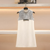 Dress Summer 2021 white S M L Short skirt singleton  Sleeveless commute Crew neck High waist Solid color Socket A-line skirt routine 25-29 years old Type A Hua Baihua Korean version Inlaid diamond stitching bead H0296 More than 95% Chiffon other Other 100% Pure e-commerce (online only)