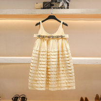 Dress Summer 2021 Off white S M L Short skirt singleton  Sleeveless Sweet Crew neck High waist Solid color Socket A-line skirt routine camisole 25-29 years old Type A Hua Baihua Studded open back embroidered fold stitching nail bead strap zipper H0272 More than 95% Chiffon other Other 100% Bohemia