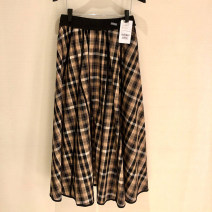 skirt Summer 2021 One, two, three, four, five Brown red, coffee rice Mid length dress Retro High waist Umbrella skirt lattice Type A 1200251-1K07722-001 More than 95% other Brother amashi cotton Pocket, zipper, stitching, women's high-end big brand fashion retro Plaid Plaid A-line skirt