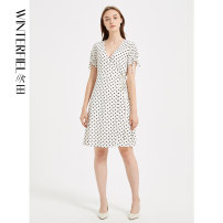 Dress Summer 2020 White wave point XS S M L XL Mid length dress singleton  Short sleeve Sweet V-neck middle-waisted Dot Socket A-line skirt routine Others 30-34 years old Winter fiel FD323 More than 95% other polyester fiber Polyester 100% Ruili Same model in shopping mall (sold online and offline)