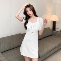 Dress Summer 2021 white S,M,L,XL Short skirt singleton  Short sleeve commute High waist 18-24 years old Type A Korean version 7070#