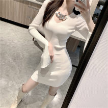 Dress Autumn 2020 Black, white S,L,M Short skirt singleton  Long sleeves Solid color pagoda sleeve 18-24 years old
