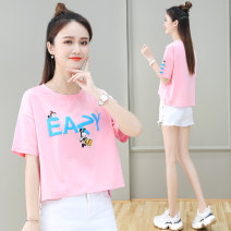 T-shirt S,M,L,XL,2XL,3XL Summer 2020 Short sleeve Crew neck easy have cash less than that is registered in the accounts routine commute cotton 96% and above Korean version originality Cartoon, letter, solid color