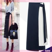 skirt Autumn of 2019 M,L,XL,S Black with white, black with pink, navy with white longuette Versatile High waist Pleated skirt Solid color Type H 18-24 years old DVLCDQ 91% (inclusive) - 95% (inclusive) Pleated, zipper