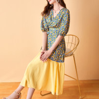 Dress Summer 2021 Yellow flower on blue background S M L XL XXL longuette singleton  elbow sleeve commute V-neck High waist Broken flowers Socket Big swing Wrap sleeves Others 35-39 years old Type A Duo Peilin Simplicity zipper XY1139 More than 95% other silk Mulberry silk 100%