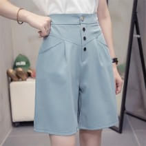 Casual pants blue L (recommended 100-115 kg) - T1, XL (recommended 115-135 kg) - T1, 2XL (recommended 135-150 kg) - T1, 3XL (recommended 150-170 kg) - T1, 4XL (recommended 170-190 kg) - T1 Summer 2020 Pant Straight pants High waist commute Thin money LL0951t17 Cotton blended fabric Korean version