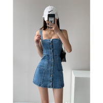 Dress Summer 2021 blue S M L Short skirt singleton  Sleeveless street One word collar High waist Solid color Single breasted A-line skirt routine camisole 18-24 years old Type A Make up More than 95% polyester fiber Polyester 100% Pure e-commerce (online only) Europe and America