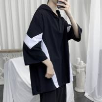 T-shirt Youth fashion R13-t33 / black, s88-t33 / white thin M,L,XL,2XL,3XL Others three quarter sleeve Hood Super slim daily summer HLC0221ZST33 Other 100% teenagers Off shoulder sleeve tide other Geometric pattern Color contrast Geometric pattern other