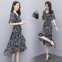 Dress Summer 2020 Red, black M,L,XL,2XL singleton  Short sleeve commute V-neck middle-waisted Solid color A-line skirt pagoda sleeve Type X lady Lotus leaf edge XYFS6879 More than 95% Chiffon other