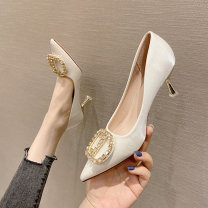 Low top shoes 33,34,35,36,37,38,39,40,31,32 Other / other C30-n-black, e46-b-apricot, p42-f-burgundy Sharp point Textile Fine heel High heel (5-8cm) Shallow mouth Superfine fiber Summer 2021 Trochanter Korean version Adhesive shoes Solid color rubber Single shoes Shallow mouth Microfiber skin daily