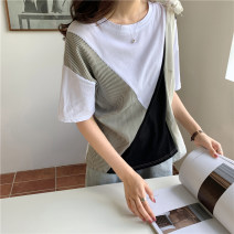 T-shirt Picture color M L XL Summer 2021 Short sleeve Crew neck easy Regular routine commute cotton 96% and above 18-24 years old Korean version originality Splicing Mushangbird Splicing Cotton 96% other 4% Pure e-commerce (online only)