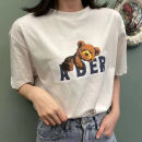 T-shirt Black, white, cyan A1,A2,A3 Summer 2021 Short sleeve Crew neck Straight cylinder Regular routine commute cotton 96% and above 18-24 years old Korean version classic Animal patterns, letters printing