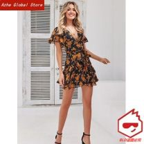 Dress Summer of 2019 Black, dark blue S,M,L,XL Miniskirt singleton  Short sleeve street V-neck High waist Broken flowers Socket other other Others 25-29 years old Type A Other / other 51% (inclusive) - 70% (inclusive) Chiffon polyester fiber Europe and America