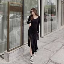 Dress Spring 2021 Gray, black S,M,L longuette singleton  Long sleeves commute Crew neck High waist Socket routine Others 18-24 years old Type A Korean version