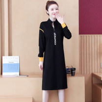 Dress Autumn 2020 black M L XL 2XL 3XL 4XL longuette singleton  Long sleeves commute High collar Loose waist letter Socket routine 25-29 years old Type H Dai Wanqi Simplicity Zipper printing More than 95% other Other 100% Pure e-commerce (online only)