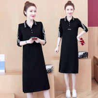 Women's large Autumn 2020 black M (recommended 85-100 kg) l (recommended 100-118 kg) XL (recommended 118-130 kg) 2XL (recommended 130-150 kg) 3XL (recommended 150-165 kg) 4XL (recommended 165-180 kg) T-shirt singleton  Straight cylinder moderate Socket Long sleeves Solid color Polo collar routine