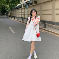 Dress Spring 2021 White, blue S, M Middle-skirt singleton  Sleeveless commute square neck High waist Solid color A-line skirt other 18-24 years old Type A 31% (inclusive) - 50% (inclusive)