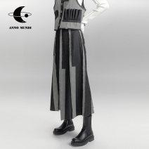 skirt Autumn 2020 XS S M L Denim black (in stock) denim black (pre sold within 5 days) Mid length dress Retro High waist A-line skirt other Type A 18-24 years old Amw030326 drop denim skirt AnnoMundi Splicing