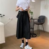 skirt Spring 2021 S 100 kg, m 100-110 kg, l 110-120 kg, XL 120-130 kg, 2XL 130-140 kg White, black, dark blue Mid length dress High waist A-line skirt bow