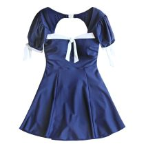 one piece  Lucky candy girl M,L,XL Navy Blue Skirt one piece With chest pad without steel support Nylon, spandex female Short sleeve Casual swimsuit Solid color bow