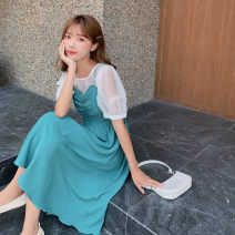 Dress Summer 2020 Purple two-piece set, green two-piece set, single coat white, single coat purple, single skirt word purple, single skirt green S. M, l, one size fits all longuette Two piece set Short sleeve commute V-neck Socket routine camisole Type A Korean version organza  polyester fiber