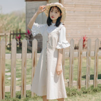 Dress Summer of 2018 Off white S,M,L Miniskirt singleton  Sleeveless commute V-neck High waist Solid color Socket A-line skirt straps Type A other