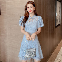 Dress Summer 2021 Light blue, white S,M,L,XL Short skirt singleton  Short sleeve Sweet stand collar middle-waisted Solid color Socket A-line skirt Petal sleeve Others 18-24 years old Type A Hollowed out, stitched, asymmetrical, beaded, button, lace 81% (inclusive) - 90% (inclusive) Lace