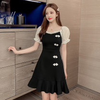 Dress Summer 2021 black S,M,L,XL,2XL Short skirt singleton  Short sleeve Sweet square neck middle-waisted Solid color Socket A-line skirt puff sleeve Others 18-24 years old Type A Flounce, stitching, asymmetry, nail bead, gauze net 8886 fixation 51% (inclusive) - 70% (inclusive) other cotton