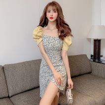 Dress Summer 2021 Pink, yellow S,M,L,XL Short skirt singleton  Short sleeve Sweet square neck middle-waisted Decor Socket A-line skirt puff sleeve Others 18-24 years old Type A Stitching, asymmetry, zipper, printing 81% (inclusive) - 90% (inclusive) other polyester fiber