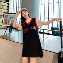 Dress Summer 2021 black S,M,L,XL Mid length dress Fake two pieces Short sleeve commute Crew neck High waist letter Socket A-line skirt other 18-24 years old Type A Korean version printing Spot 2928 30% and below brocade cotton