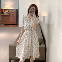 Dress Summer 2021 white S,M,L,XL Miniskirt singleton  Short sleeve commute V-neck Elastic waist routine Others 18-24 years old lady 31% (inclusive) - 50% (inclusive) Chiffon other