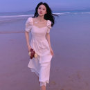 Dress Summer 2021 White dress S M L XL Mid length dress singleton  Short sleeve commute square neck High waist Solid color Socket A-line skirt puff sleeve Others 18-24 years old Type A Make up Gina Korean version Splicing ZJN551 More than 95% other other Other 100% Pure e-commerce (online only)