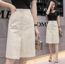 skirt Spring 2020 S,M,L,XL,2XL Black, white, apricot, red longuette commute High waist A-line skirt Solid color Type A 18-24 years old 71% (inclusive) - 80% (inclusive) other Ocnltiy cotton
